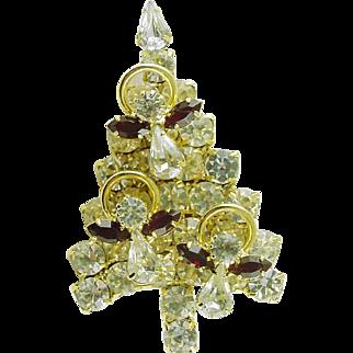 Vintage Christmas Tree Pin / Brooch with All Swarovski Crystals Signed Atturia