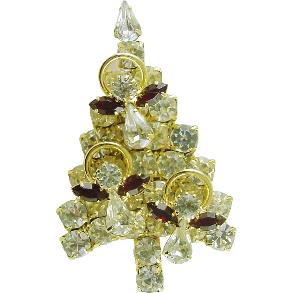Signed Attruria Christmas Tree Pin / Brooch with All Swarovski Crystals