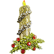 Signed ART Garland Wrapped Candle Christmas Holiday Pin / Brooch - Book Piece
