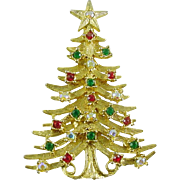 Signed TANCER Vintage Christmas Tree Pin / Brooch with Rhinestones - book piece