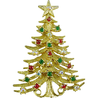 Vintage Christmas Tree Pin / Brooch with Rhinestones Signed Tancer book piece