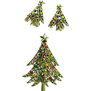 Signed Hollycraft Christmas Tree Pin/ Brooch with Matching Earring - Book Piece