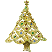 Signed JJ Vintage Christmas Tree Pin / Brooch with Rhinestones