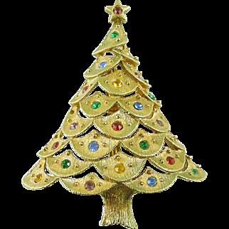 Vintage Christmas Tree Pin / Brooch with Rhinestones Signed JJ