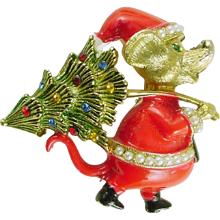 Vintage Christmas Holiday Pin / Brooch Mouse in Santa Suit with Christmas Tree signed JJ - Book Piece