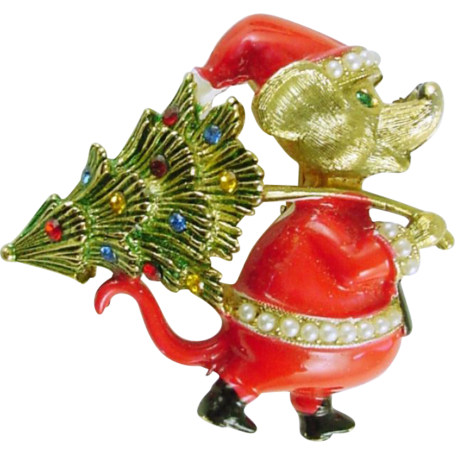 Signed JJ Vintage Christmas Holiday Pin / Brooch Mouse in Santa Suit with Christmas Tree  - Book Piece