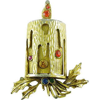 Vintage Christmas Holiday Pin / Brooch Candle with Rhinestones signed ART - Book Piece