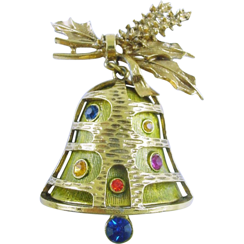 Signed ART Vintage Christmas Holiday Swinging Bell Pin / Brooch - Book Piece