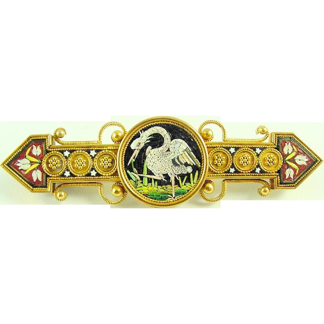Antique Victorian Italian Micro Mosaic Crane Bird Brooch