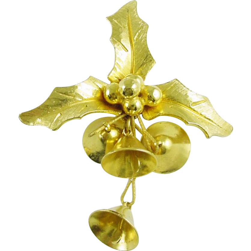 Signed Jeanne Vintage Christmas Holiday Pin/ Brooch with Tinkling Bells