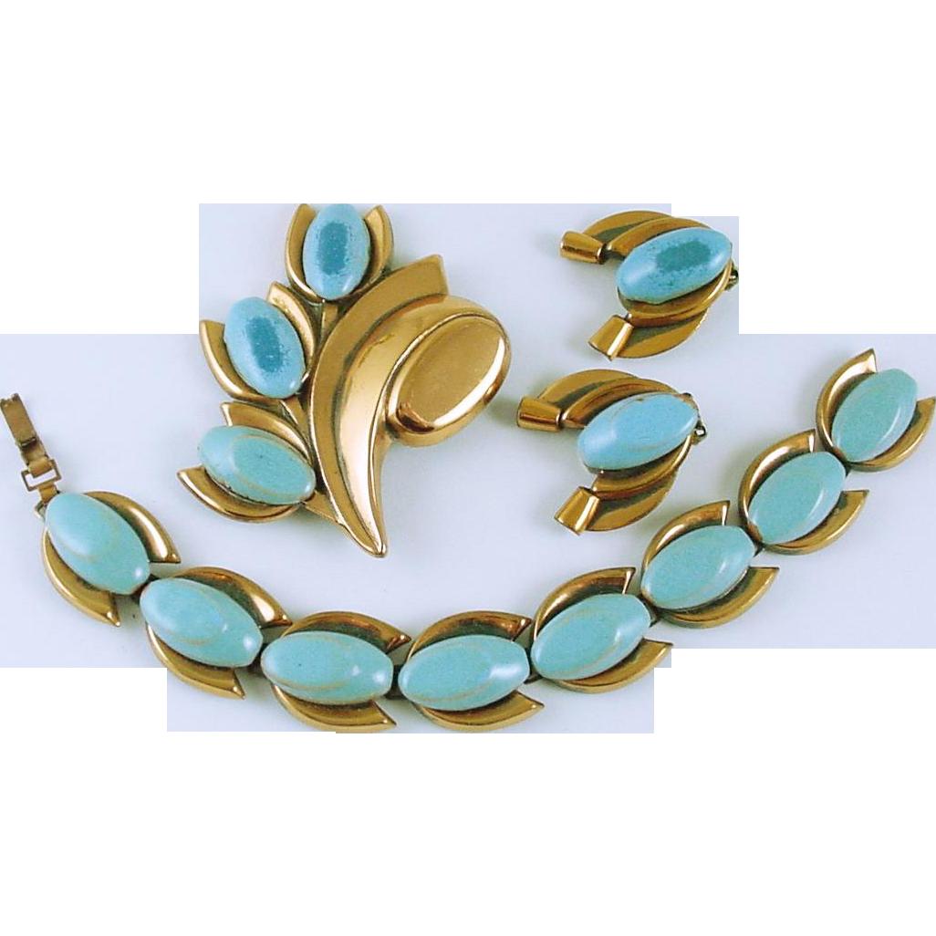 "Vintage Matisse / Renoir Copper with Blue Enamel Demi Parure ""Tulip"" Bracelet Pin & Earrings"