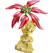 Signed MYLU Vintage Christmas Holiday Angel Pin / Brooch - Book Piece