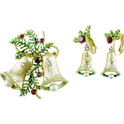 Vintage Christmas Holiday Bells Pin / Brooch with Clip Dangle Earrings