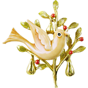 "Signed ART Vintage Christmas Holiday Pin / Brooch ""Partridge in a Pear Tree""  - Book Piece"