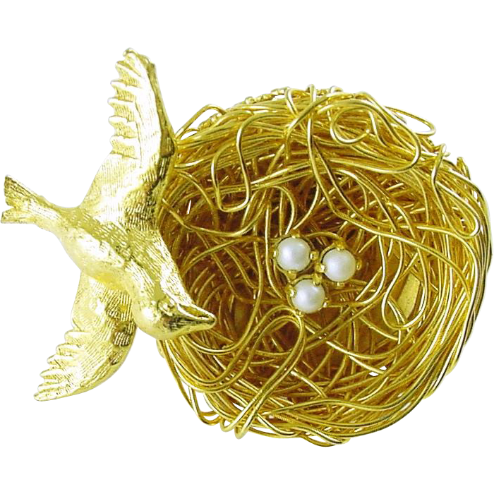 Signed Jeanne Vintage Bird Nest Pin with Bird and Faux Pearl Eggs