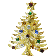 Signed Eisenberg Ice Christmas Holiday Tree Pin / Brooch  - Book Piece