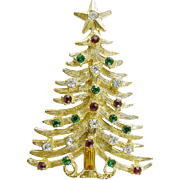 MYLU Vintage Holiday Christmas Tree Pin / Brooch Unsigned - Book Piece