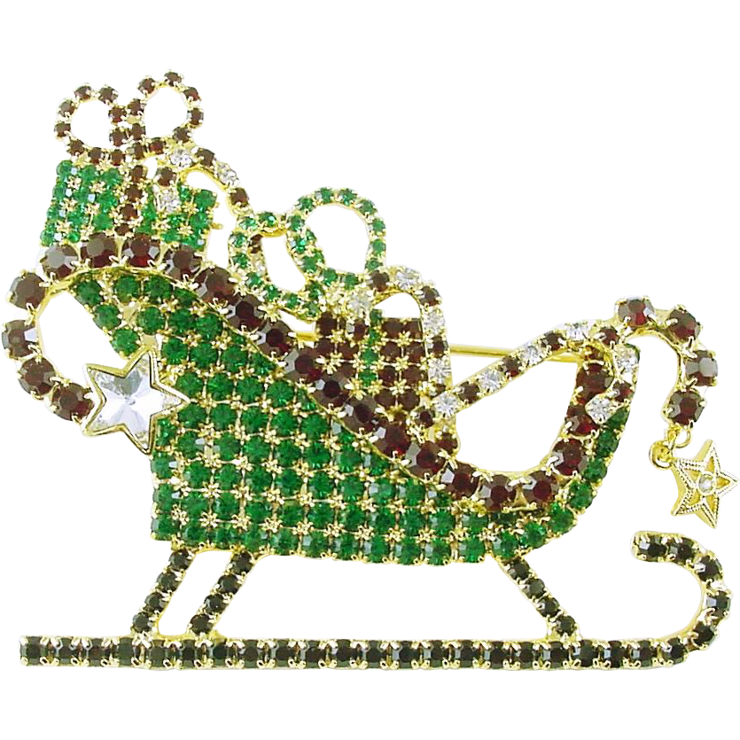 Kirk's Folly Limited Edition Christmas Holiday All Rhinestone Sleigh Sled Pin  LARGE