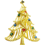 Vintage Holiday Christmas Tree Pin with Rhinestones