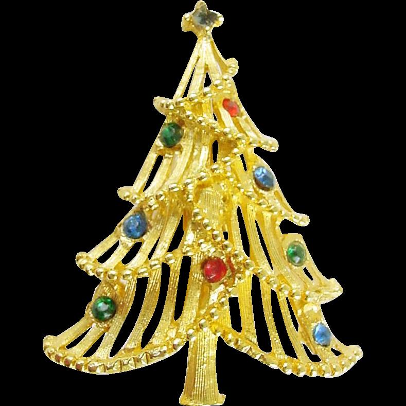 Vintage Holiday Christmas Tree Pin with Rhinestones