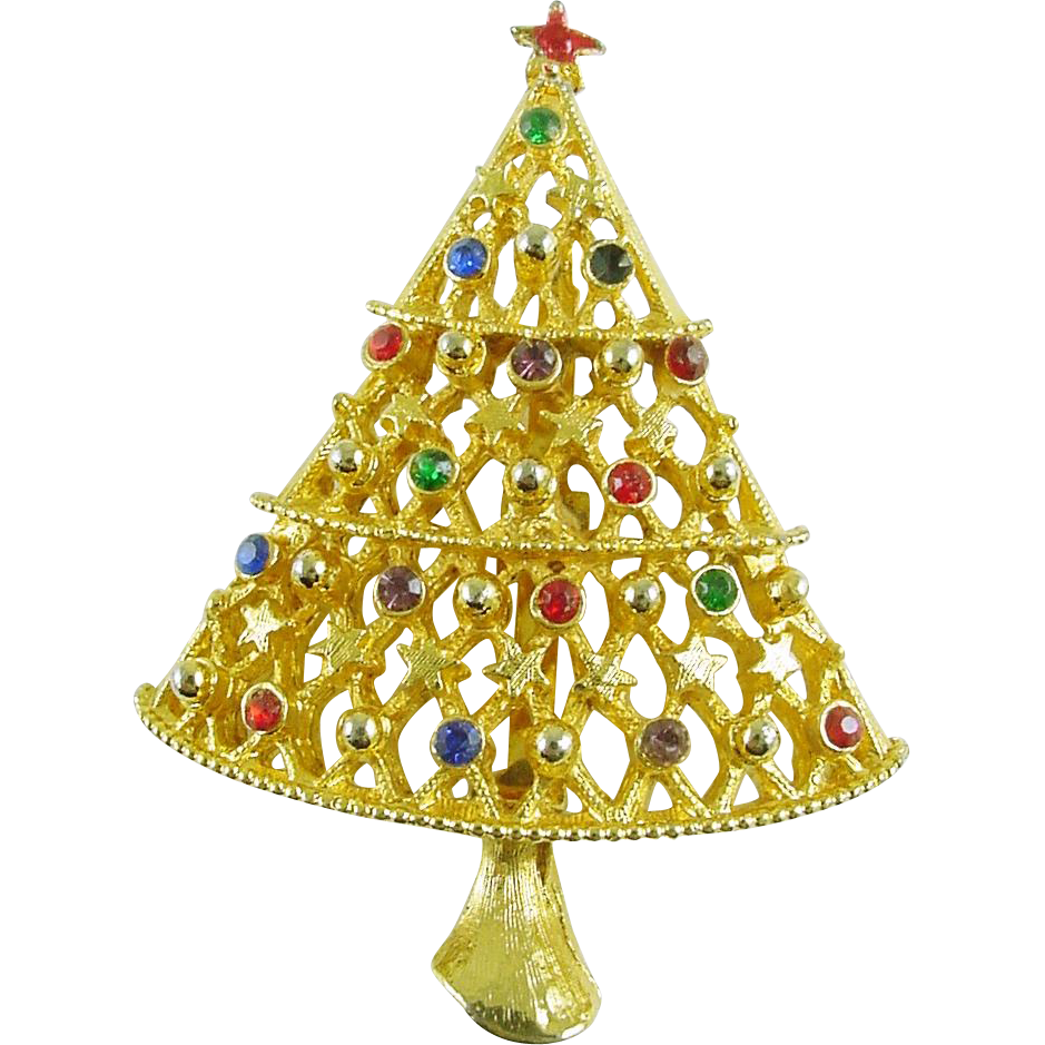 Signed JJ Vintage Holiday Christmas Tree Pin / Brooch with Rhinestones