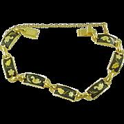 Vintage Spanish Toledo Damascene Link Bracelet with Flowers and Birds