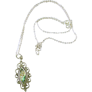 Vintage Sterling Silver (925) and Abalone Pendant Necklace