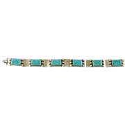Vintage Mid Century Sterling Silver (925) Hinged Bracelet with Turquoise Made in Mexico
