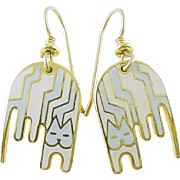 Laurel Burch Aztec Cat Drop Earrings Retired Style
