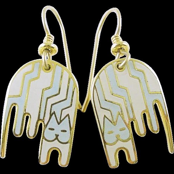 Laurel Burch Aztec Cat Drop Earrings Retired Style