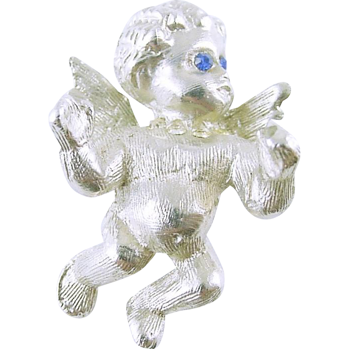 Signed CIRO Little Cherub Angel Pin / Brooch