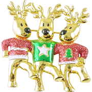 Fun Christmas Holiday Reindeer Chorus Line Pin / Brooch Signed AJC
