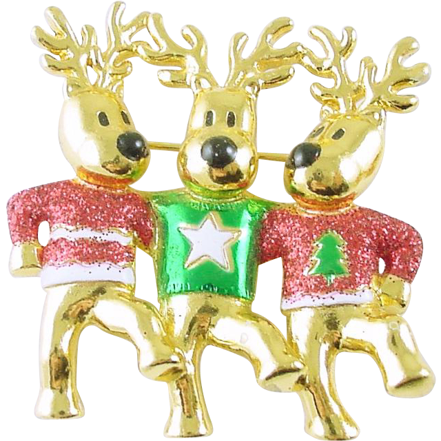 Fun Christmas Holiday Reindeer Chorus Line Pin / Brooch Signed AJC