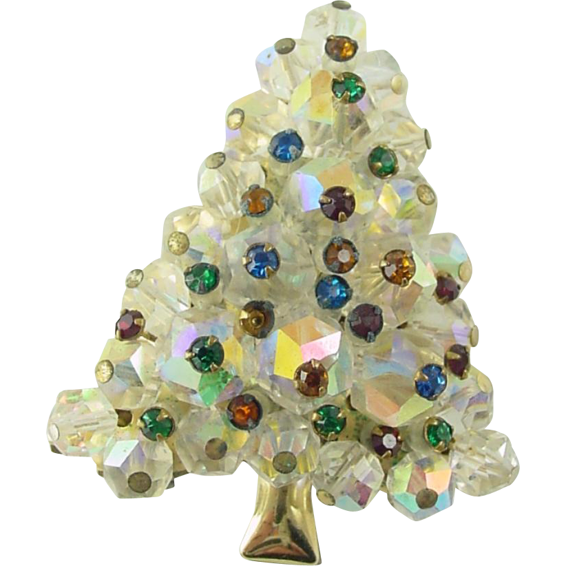 Vintage Christmas Tree Pin / Brooch Austrian Crystal Beads and Rhinestones