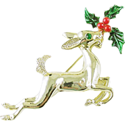 Vintage Christmas Holiday Reindeer Pin / Brooch signed Gerry's Book Piece