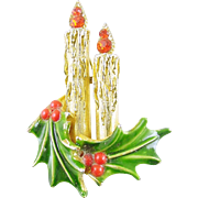 Signed Art Vintage Christmas Holiday Candles Pin / Brooch - Book Piece