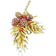 Signed ART Vintage Christmas Holiday Pine Branch with Pine Cones Pin / Brooch