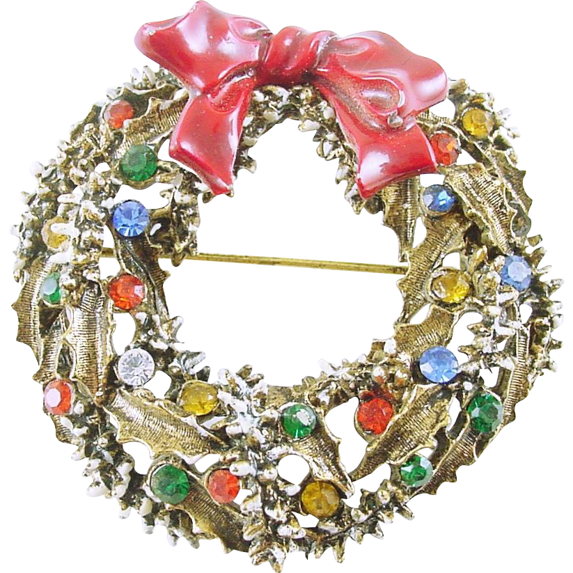 Signed ART Vintage Christmas Holiday Wreath Pin / Brooch with Rhinestones - Book Piece
