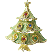 Vintage Holiday Christmas Tree Pin/Brooch with Rhinestones and Enamel Unsigned ART