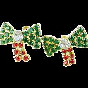 Vintage All Rhinestone Christmas Holiday Bow Post Dangle Earrings