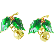 Christmas Holiday Post Earrings Holly with Jingle Bells