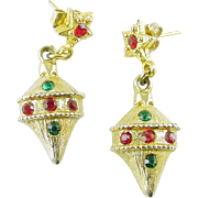 Vintage Christmas Holiday Ornament Earrings Post Dangle with Rhinestones