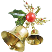 Vintage Christmas Holiday Pin / Brooch with Holly, Berries, and Two Dangling Bells