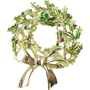 Signed Tancer II Christmas Holiday Wreath Pin / Brooch with Rhinestones