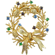 Vintage Christmas Holiday Wreath Pin / Brooch with Rhinestones Signed ART