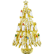 Signed ART Christmas Tree Pin / Brooch with Candles and Rhinestones - Book Piece