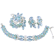 Estate Signed EISENBERG Pale Blue Rhinestone Parure, Bracelet Brooch Earrings