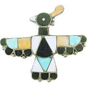 Vintage Silver Native American Zuni Thunderbird Pin with Inlaid Mosaic