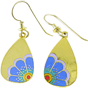 Signed Laurel Burch MOONFLOWER Drop Earrings Goldtone with Blue