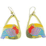 "Signed Laurel Burch ""Toucan"" Drop Earrings Birds"
